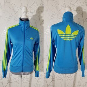 Adidas Originals Blue Track Jacket Green Trefoil